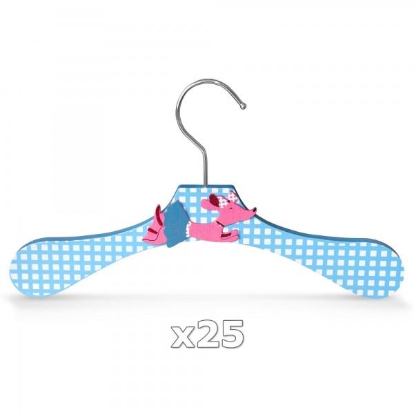 25 Stück - Kinder-Kleiderbügel aus Holz - Motiv Dackel
