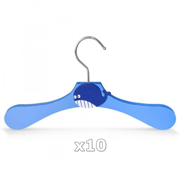 10 Stück - Kinder-Kleiderbügel aus Holz - Motiv Wal