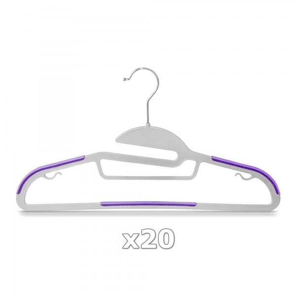 20 Stück - Kleiderbügel Kunststoff Anti-rutsch / extra dünn - Grau / Lila