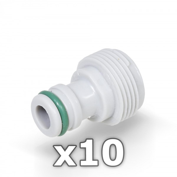 """10 x Berlan Gerätestück 3/4"""" Zoll AG Geräteadapter -GREEN LINE-"""