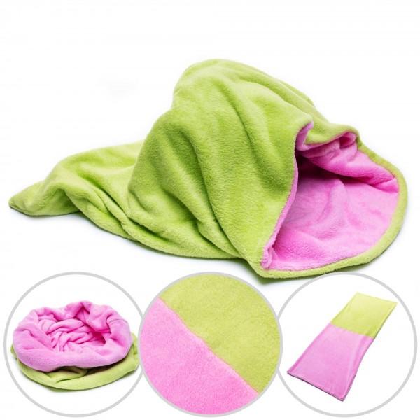 Hundedecke 3 in 1 XXL Fleece Hund Decke Schlafsack Kissen Bett Grün + Pink
