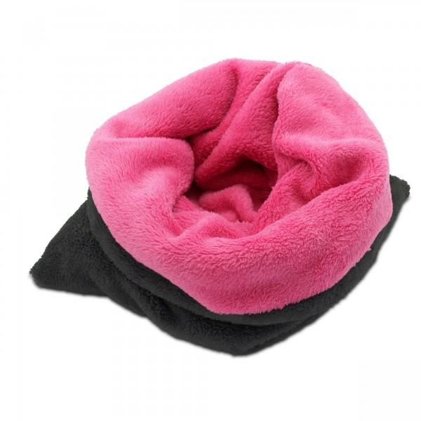 3in1 Decke - Schlafsack - Kissen für Tierbabys - Fleece - Pink + Grau