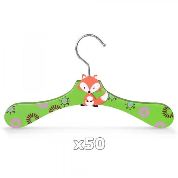 50 Stück - Kinder-Kleiderbügel aus Holz - Motiv Fuchs