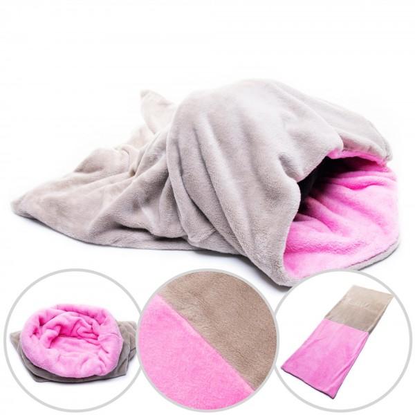 Hundedecke 3 in 1 XXL Fleece Hund Decke Schlafsack Kissen Bett Grau + Rosa