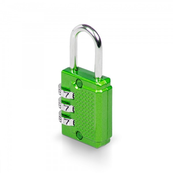 Zahlenschloss mit 3-stelligem Code - 26 x 55 mm - grün