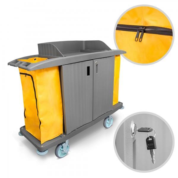 Fahrbarer Kunststoff Servicewagen mit Türen - 3 Fächer - 2 Säcke
