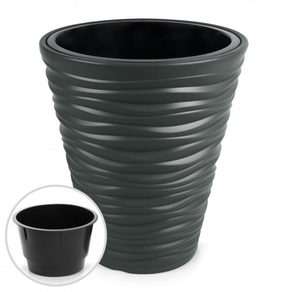 Kunststoff Blumentopf Wüstensand Optik + Einsatz - anthrazit Ø 345 mm