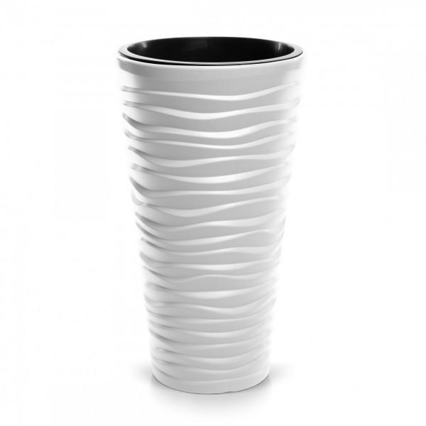 Blumentopf schmal Design Welle in 3D-Optik + Einsatz - weiß Ø 390 mm
