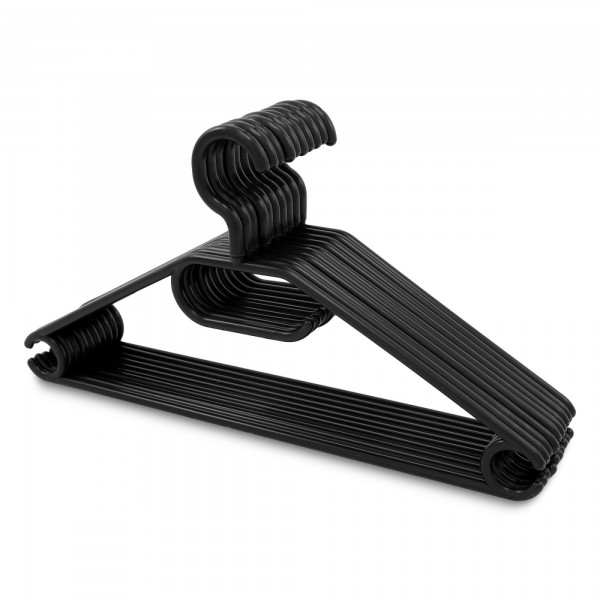 10 x Kunststoff Kleiderbügel schwarz - drehbarer Haken + Krawattenhalter