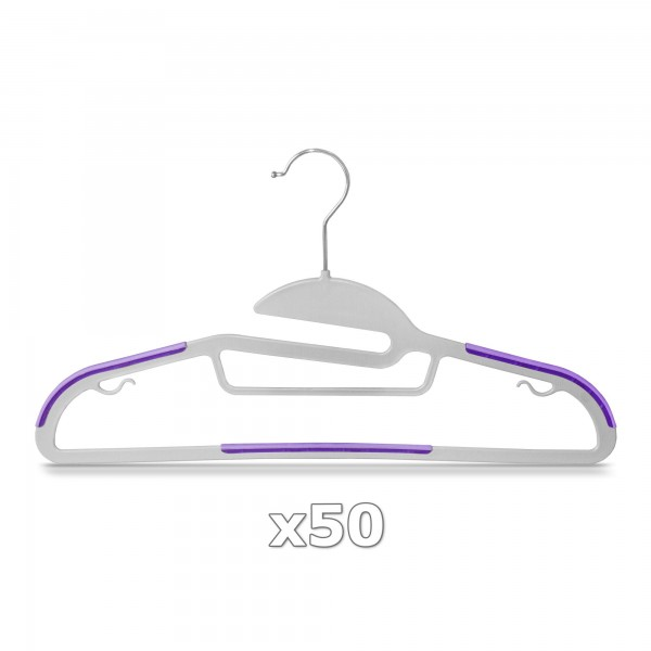 50 Stück - Kleiderbügel Kunststoff Anti-rutsch / extra dünn - Grau / Lila