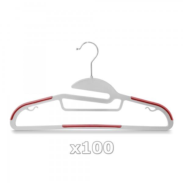 100 Stück - Kleiderbügel Kunststoff Anti-rutsch / extra dünn - Grau / Rot