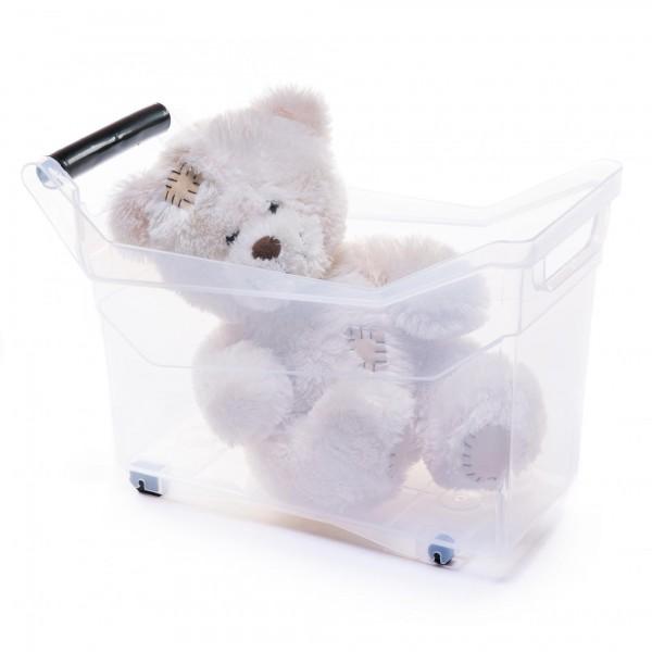 Kunststoff Aufbewahrungsbox mit Griffen und Rollen - transparent - 14 Liter