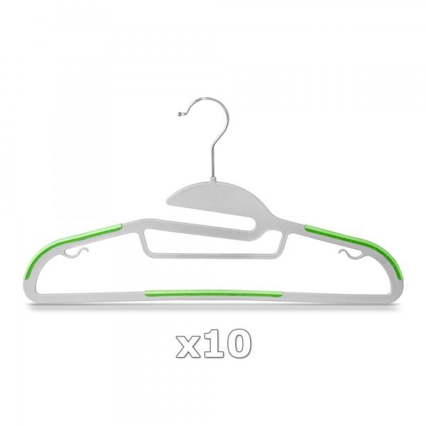 10 Stück - Kleiderbügel Kunststoff Anti-rutsch / extra dünn - Grau / Grün